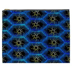 Blue Bee Hive Pattern Cosmetic Bag (xxxl)