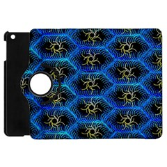 Blue Bee Hive Pattern Apple Ipad Mini Flip 360 Case