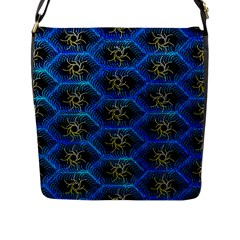 Blue Bee Hive Pattern Flap Messenger Bag (l)