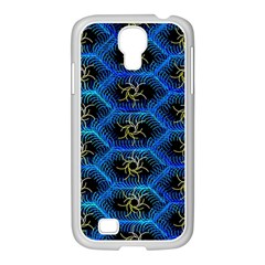 Blue Bee Hive Pattern Samsung GALAXY S4 I9500/ I9505 Case (White)