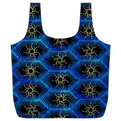 Blue Bee Hive Pattern Full Print Recycle Bags (l)