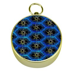 Blue Bee Hive Pattern Gold Compasses