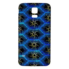 Blue Bee Hive Pattern Samsung Galaxy S5 Back Case (White)