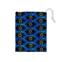 Blue Bee Hive Pattern Drawstring Pouches (medium)