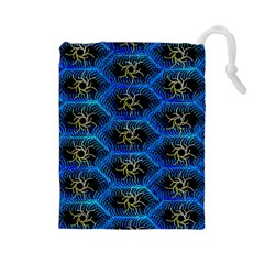 Blue Bee Hive Pattern Drawstring Pouches (large)