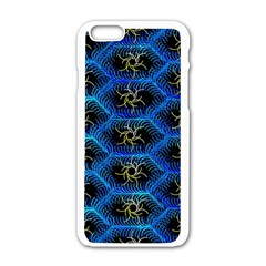 Blue Bee Hive Pattern Apple iPhone 6/6S White Enamel Case