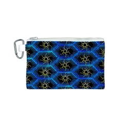 Blue Bee Hive Pattern Canvas Cosmetic Bag (s)