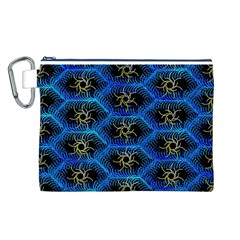 Blue Bee Hive Pattern Canvas Cosmetic Bag (l)