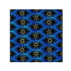 Blue Bee Hive Pattern Small Satin Scarf (square)