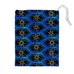 Blue Bee Hive Pattern Drawstring Pouches (Extra Large)