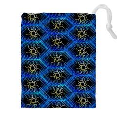 Blue Bee Hive Pattern Drawstring Pouches (xxl)