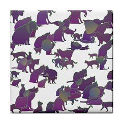 Many Cats Silhouettes Texture Tile Coasters