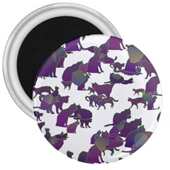 Many Cats Silhouettes Texture 3  Magnets