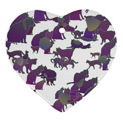Many Cats Silhouettes Texture Ornament (heart)