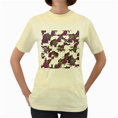 Many Cats Silhouettes Texture Women s Yellow T Shirt