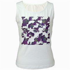 Many Cats Silhouettes Texture Women s White Tank Top