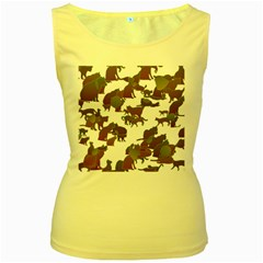 Many Cats Silhouettes Texture Women s Yellow Tank Top