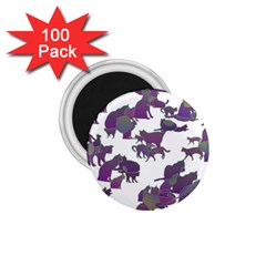 Many Cats Silhouettes Texture 1 75  Magnets (100 Pack)