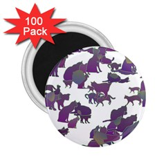 Many Cats Silhouettes Texture 2 25  Magnets (100 Pack)