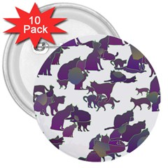 Many Cats Silhouettes Texture 3  Buttons (10 Pack)