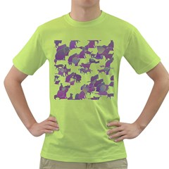 Many Cats Silhouettes Texture Green T Shirt
