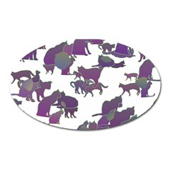 Many Cats Silhouettes Texture Oval Magnet