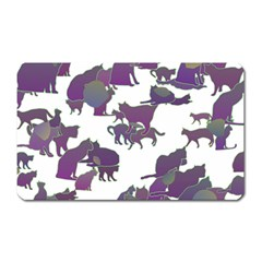 Many Cats Silhouettes Texture Magnet (Rectangular)