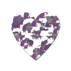 Many Cats Silhouettes Texture Heart Magnet