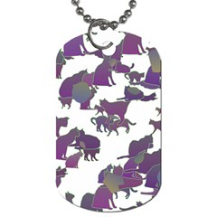 Many Cats Silhouettes Texture Dog Tag (two Sides)