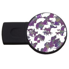 Many Cats Silhouettes Texture Usb Flash Drive Round (2 Gb)