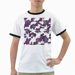Many Cats Silhouettes Texture Ringer T Shirts