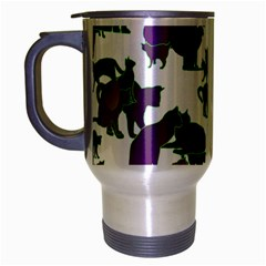 Many Cats Silhouettes Texture Travel Mug (silver Gray)