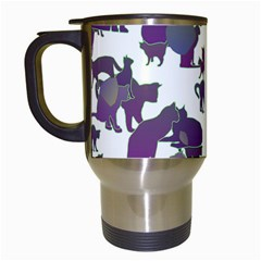 Many Cats Silhouettes Texture Travel Mugs (white)