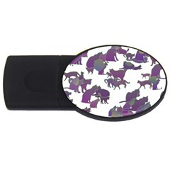 Many Cats Silhouettes Texture Usb Flash Drive Oval (4 Gb)