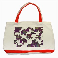 Many Cats Silhouettes Texture Classic Tote Bag (red)