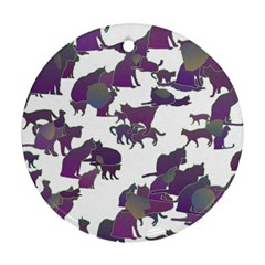 Many Cats Silhouettes Texture Round Ornament (two Sides)
