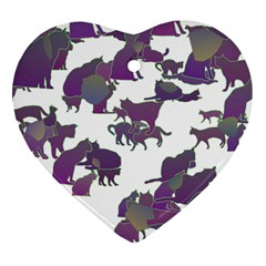 Many Cats Silhouettes Texture Heart Ornament (two Sides)