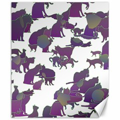 Many Cats Silhouettes Texture Canvas 8  X 10