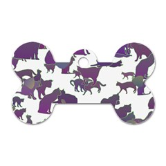Many Cats Silhouettes Texture Dog Tag Bone (one Side)