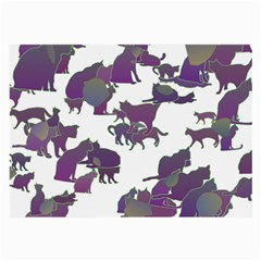 Many Cats Silhouettes Texture Large Glasses Cloth (2-Side)
