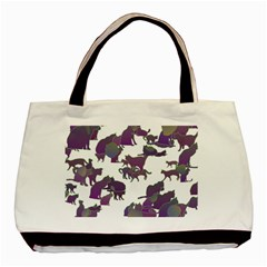 Many Cats Silhouettes Texture Basic Tote Bag (two Sides)