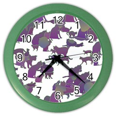 Many Cats Silhouettes Texture Color Wall Clocks
