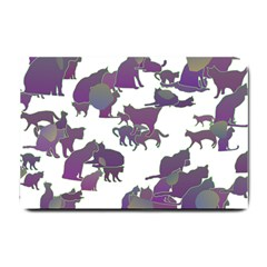 Many Cats Silhouettes Texture Small Doormat