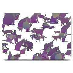 Many Cats Silhouettes Texture Large Doormat