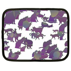 Many Cats Silhouettes Texture Netbook Case (large)