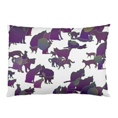 Many Cats Silhouettes Texture Pillow Case