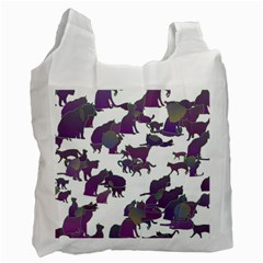 Many Cats Silhouettes Texture Recycle Bag (one Side)
