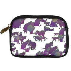 Many Cats Silhouettes Texture Digital Camera Cases