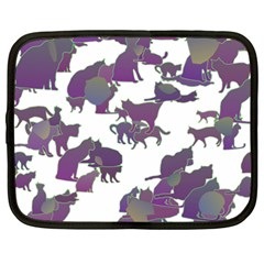 Many Cats Silhouettes Texture Netbook Case (xxl)