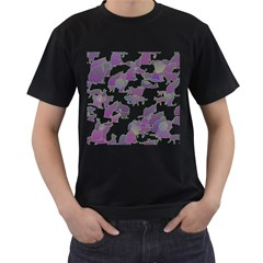 Many Cats Silhouettes Texture Men s T Shirt (black)